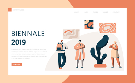 Art Gallery Exhibition Tourist Landing Page. People Character Group at Art Famous Painting Frame Artwork Exposition Interior for Website or Web Page. Flat Cartoon Vector Illustration