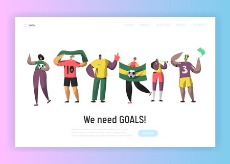 Football Fan Team Set Landing Page. Happy Friends Celebrate Soccer Event Victory with Flag, Scarf Concept for Website or Web Page. Flat Vector Illustration