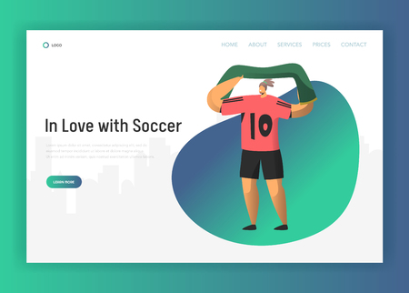 Football Fan Character Landing Page. Happy Rooter Celebrate in Red Uniform Soccer Event Victory with Flag Concept for Website or Web Page. Flat Vector Illustration