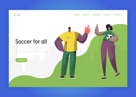 Football Brazil Fan Character Couple Set Landing Page. Excited Friend Celebrate Brazilian Sport Event Victory with Ball, Big Hand Concept for Website or Web Page. Flat Vector Illustration Illustration