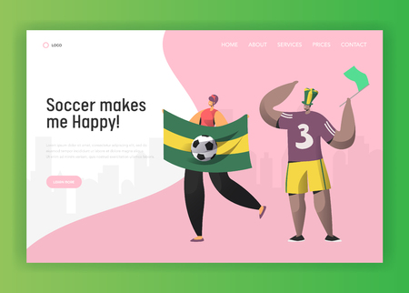 Soccer Brazil Fan Character Couple Landing Page. Excited Friend Celebrate Brazilian Sport Event Cup Game with Flag Concept for Website or Web Page. Flat Vector Illustration Illustration
