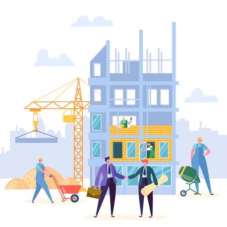 Acuerdo de construcción de diseño vectorial de apretón de manos. El empresario y el ingeniero tienen antecedentes de contrato de asociación de construcción, grúa y propiedad. Ilustración de espíritu empresarial comercial de carácter empresarial