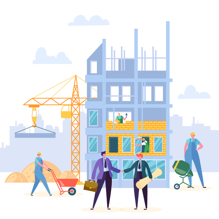 Building Agreement Handshake Vector Design. Businessman and Engineer have Construction Partnership Contract, Crane and Property Background. Business Character Commercial Entrepreneurship Illustration Çizim
