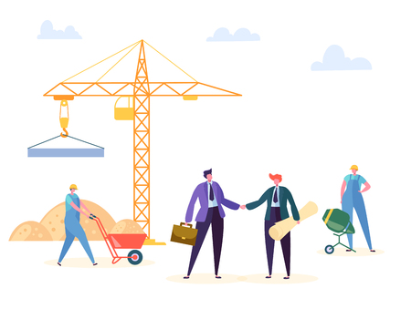 Construction Agreement Handshake Vector Illustration. Business Manager and Engineer have Building Partnership Contract, Crane Worker Background. Businessman Character Residential Project Deal Poster Ilustracja
