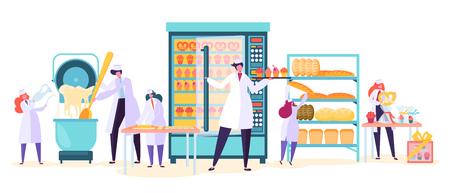 Carácter de producción de alimentos de fábrica de panadería. Planta de la industria de la máquina del panadero del pan. Trabajador hacer masa de pastel en la fabricación moderna de confitería interior plano conjunto de ilustraciones vectoriales de dibujos animados