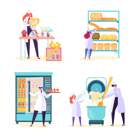 Bakery Factory Food Production Machine Set. Bread Baking Industry Equipment Collection with People Worker Character. Cake Dough in Modern Pastry Manufacture Flat Cartoon Vector Illustration
