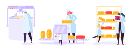 Cheese Food Production Factory Set. Commercial Character Making Dairy Machinery Process in Metal Tank. Milk Ripening Manufacturing Equipment Line Flat Cartoon Vector Illustration Иллюстрация