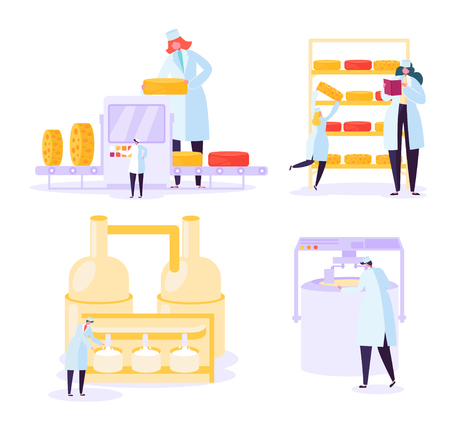 Cheese Food Production Industry Collection. Commercial Character Making Dairy Machinery Pasteurization Process in Metal Tank. Milk Manufacture Flowchart Line Flat Cartoon Vector Illustration