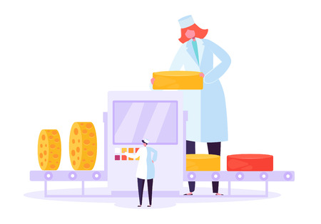 Cheese Packaging Production Factory Line. Milk Food Making Manufacture Wrap Process. Organic Dairy Commercial Pasteurization Machine and Woman Character Concept Flat Cartoon Vector Illustration Stok Fotoğraf - 123179077