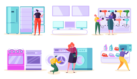 Electronic Retail Store Sale Market Consumer. Customer Purchase TV and Microwave in Technology Supermarket. Man Character Choose Fridge and Washer Product at Tech Mall Flat Cartoon Vector Illustration 向量圖像