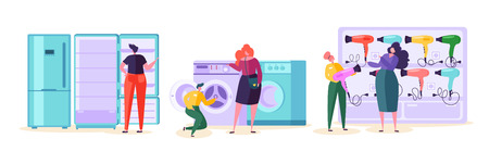 Electronic Retail Store Sale Market Consumer. Customer Purchase TV and Microwave in Technology Supermarket. Man Character Choose Fridge and Washer Product at Tech Mall Flat Cartoon Vector Illustration Illustration