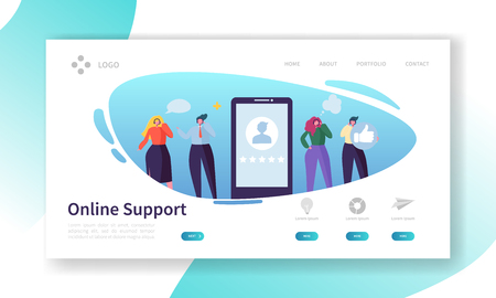 Customer Support Internet Service Landing Page. Operator Character Call Online Business Client by Headset. Helpline Center Concept for Website or Web Page. Flat Cartoon Vector Illustration Vektorgrafik