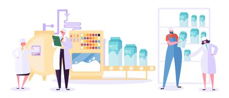 Milchfarm-Produktionsindustrie-Liniensammlung. Maschinenset für Milchprodukte. Moderne Frau Charakter Test Molkerei Getränke Qualität in der Herstellung Tank Kühlschrank Flache Karikatur Vektor Illustration Vektorgrafik