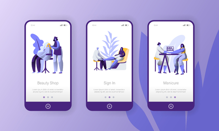 Hair Manicure Care Mobile App Set. Beauty Salon Character Hairdresser Manicurist Girl Ui Layout. Spa Hand Foot Stylist Woman Concept Phone Application or Landing Page. Flat Cartoon Vector Illustration