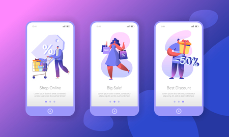 Woman Shopping Sale Store Mobile App Page Onboard Screen Set. Customer Character Run for Big Ecommerce Discount Gift Concept for Website or Web Page. Flat Cartoon Vector Illustration