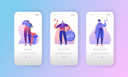Sale Advertising Marketing Character Mobile App Page Onboard Screen Set. Woman and Man make Special Speaker Offer Announcement Concept for Website or Web Page. Flat Cartoon Vector Illustration