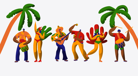 Brazil Carnival Party Character Dance Samba Set. Man Woman Dancer at Brazilian Ethnic Festival Isolated on White Background. Exotic Costume People Collection Flat Cartoon Vector Illustration Banque d'images - 123179100