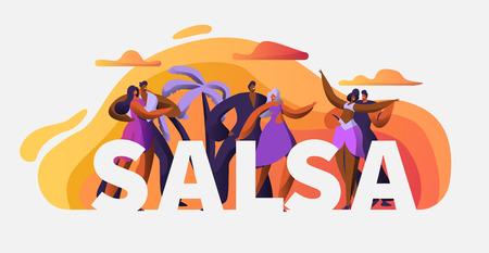 Plantilla de cartel de tipografía de personaje de bailarina de fiesta de salsa. Pasión Cuba Dance. Latin Man Woman Tango y Rumba Art Master Concept para Banner Publicitario Imprimible. Ilustración vectorial