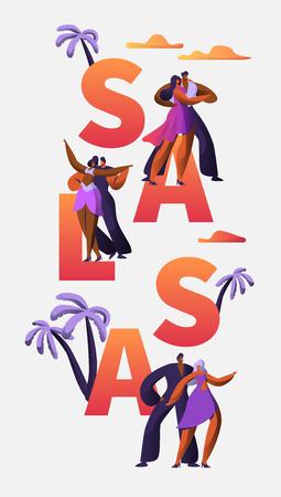 サルサフェスティバルキャラクターダンスタイポグラフィ垂直バナーテンプレート。情熱キューバダンサー。ラテン系の男の女性は、印刷可能な広告バナーのためのタンゴとルンバエンターテイメントコンセプトを作ります。ベクトルの図
