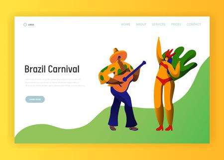Plantilla de página de destino de carácter de pareja de fiesta de carnaval de Brasil. Hombre mujer bailarina en el concepto de traje de plumas exóticas de Carnaval de mascarada brasileña para sitio web o página web. Ilustración de vector de dibujos animados plana Ilustración de vector