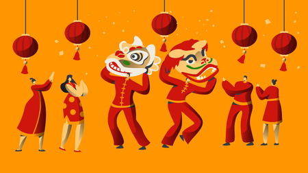 Chinese New Year Parade Character Set. Man Dance in Red Dragon Costume for China Holiday Celebration. Asian Traditional Festive Festival Greeting Card Template Flat Cartoon Vector Illustration