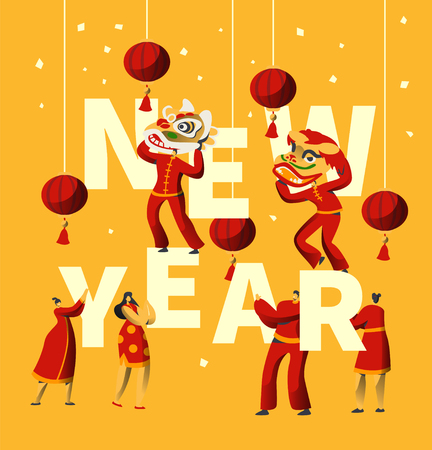 Chinese New Year Festival Typography Banner. Man Dance in Red Dragon Mask for China Holiday Celebration. Asian Traditional Lantern Festival Greeting Card Template Flat Cartoon Vector Illustration
