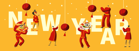 Chinese New Year Festival Typography Horizontal Poster. Man Dance in Red Dragon Head Mask at China Traditional Performance. Asian Lantern Festival Invitation Card Template Flat Vector Illustration
