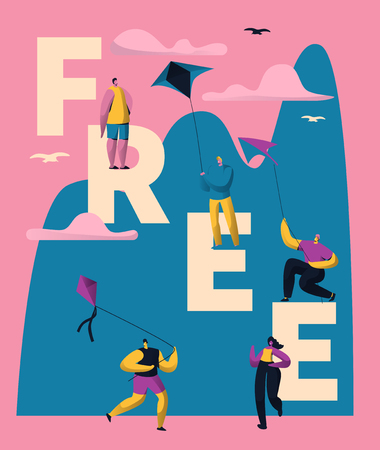 Kite Free Typography Banner Vertical Design. People Character Joy on Makar Sankranti Holiday. Freelance Lifestyle Concept for Poster Template Flat Cartoon Vector Illustration