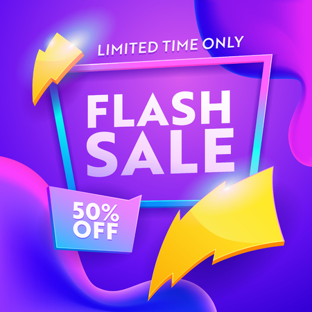 Flash Sale Discount Modern Poster. Online Ecommerce Retail Promotion Wholesale Gradient Template. Lightning Sign on Marketing Coupon Badge Banner Design Vector Illustration Illusztráció