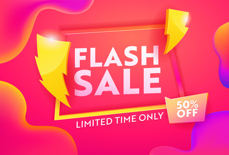Flash Sale Hot Advertising Horizontal Poster. Business Ecommerce Discount Promotion Gradient Template. Lightning Symbol on Marketing Closeout Deal Banner Design Vector Illustration Фото со стока - 123179129