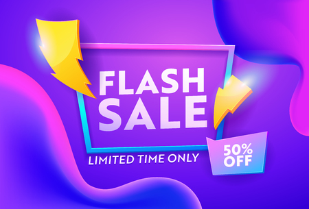 Flash Sale Purple Gradient Horizontal Poster. Online Ecommerce Discount Promotion Typography Template. Lightning Symbol on Closeout Colorful Badge Banner Design Vector Illustration 免版税图像 - 123179130