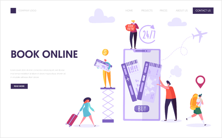 Book Vacation Flight Ticket Landing Page. Holiday Journey Online Reservation Technology. Woman Character Buy Digital Airplane Trip on Smartphone Website Concept or Web Page. Flat Vector Illustration Illustration