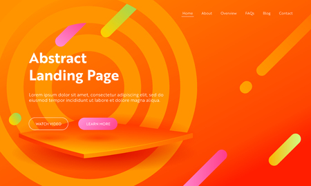 Abstract Aim Marketing Agency Landing Page Template. Modern Bright Backdrop for Gradient Advertising Layout Concept for Website or Web Page. Flat Cartoon Vector Illustration