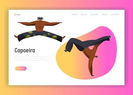Capoeira Brazil Man Combat Dance Landing Page. Latino Male Character Handstand Acrobatic Samba Dancer. National Brazilian Fighter Lifestile for Website or Web Page Flat Cartoon Vector Illustration Illustration