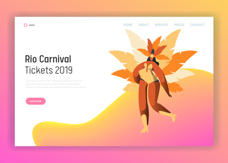 Brazil Carnival Dancer Woman Character Landing Page. Latino Woman Dance in Exotic Feather Bikini Costume at Rio de Janeiro Holiday Celebration for Website or Web Page Flat Cartoon Vector Illustration