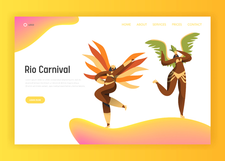 Brazil Carnival Latin Bikini Woman Landing Page. Couple Female Dance in Traditional Brazilian Costume at Rio de Janeiro Exotic Summer Event for Website or Web Page Flat Cartoon Vector Illustration