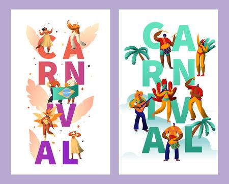 Brasilianischer Karneval Charakter Typografie Poster Set. Feder-Bikini-Frauen-Tanz Tropical Summer Rumba. Mann spielt Gitarre für glückliches Cabare-Festival-vertikales Fahnen-Design-flache Karikatur-Vektor-Illustration