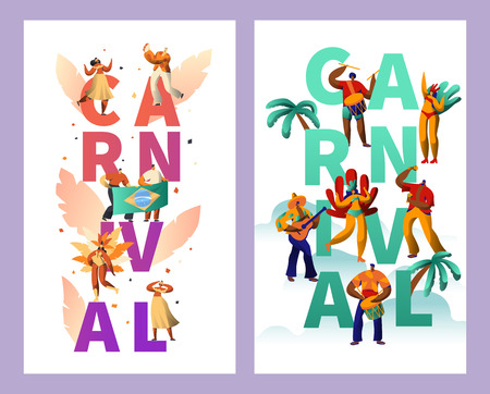 Brazilian Carnival Character Typography Poster Set. Feather Bikini Woman Dance Tropical Summer Rumba. Man Play Guitar for Happy Cabare Festival Vertical Banner Design Flat Cartoon Vector Illustration