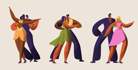 Salsa Party Dancer Couple Character Set. Passion Cuba Mambo Dance. Latin Man Woman Tango and Rumba Style Master. Passion Vintage Samba People Group in Vintage Costume Flat Cartoon Vector Illustration