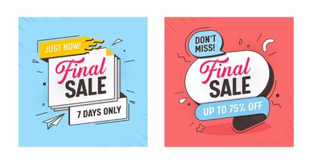 Final Sale Discount Offer Banner Set. Mega Discount Ribbon Poster Layout. Marketing Promotion Special Hot Element Kit. Best Deal Horizontal Sign Tab Message Design Flat Vector Illustration Çizim