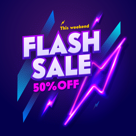 Flash Sale Neon Night Banner Sign. Discount Advertising Glow Electric Bar Billboard. 3d Glossy Square Laser Effect Retro Poster Signboard. Dark Flyer Purple Layout Vector Illustration 일러스트