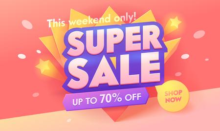 Super Sale Angebot 3d Pink Banner. Promotion-Rabatt-Poster-Design. Typografie-Abzeichen für digitale Werbekampagnen. Jetzt einkaufen Deal Sticker Layout Vector Illustration