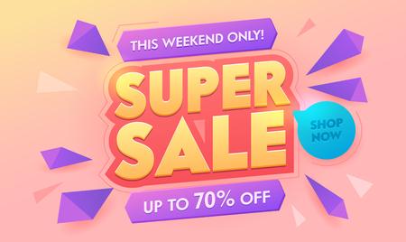 Super Sale Discount 3d Golden Banner. Promotion Percent Price Offer Poster Design. Advertising Digital Marketing Typography Badge. Shop Now Deal Horizontal Sticker Layout Vector Illustration
