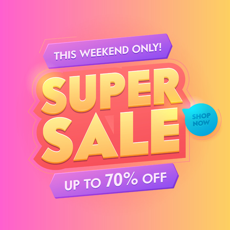 Super Sale 3d Golden Typography Badge. Deal Promotion Trendy Gradient Poster Design. Advertising Digital Campaign Special Sign. Shop Now Button Layout Square Sticker Vector Illustration