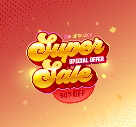 Super Sale 3d Golden Typography Poster. Special Offer Promotion Off Price Red Gradient Banner Design for Casino or Gambling. Digital Advertising Bright 3d Badge Layout Vector Illustration