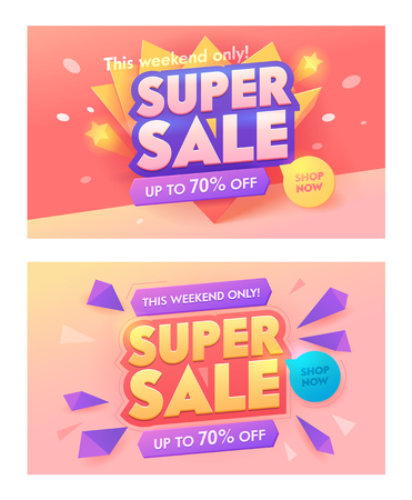 Super Sale 3d Typography Pink Banner Set. Promotion Discount Price Offer Poster Design. Advertising Digital Marketing Blowout Badge. Shop Now Deal Sticker Layout Vector Illustration