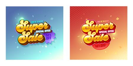 Super Sale 3d Golden Typography Banner Set. Special Offer Promotion Price Gold Gradient Poster Design for Casino or Game. Digital Advertising Shiny Badge. Free Badge Layout Vector Illustration