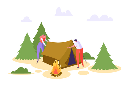 Man Woman Put Up Tent Forest Vacation. People Character Camp in Wildlife Nature Forest. Family Summer Picnic Activity with Campfire. Outdoor Extreme Leisure Flat Cartoon Vector Illustration
