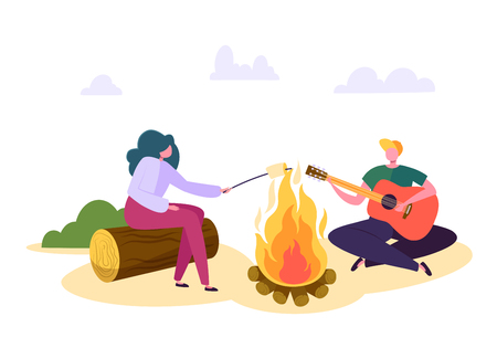 People Outdoor Camping Forest Nature at Fire. Man Play Guitar, Woman Roast Marshmallow Over Fireplace. Family Park Weekend Adventure Hiking. Couple Character Vacation Flat Cartoon Vector Illustration Çizim