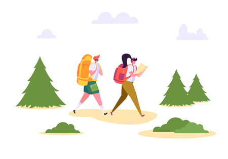 People Hiking Backpack Forest Nature Landscape. Man Woman Walk in Summer Park. Weekend Adventure Camping. Couple Character Adventure Vacation Flat Cartoon Vector Illustration